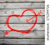 red heart painted on a wooden... | Shutterstock . vector #171299726