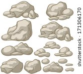 vector cartoon stones set | Shutterstock .eps vector #171306170