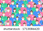 seamless pattern with doctors... | Shutterstock .eps vector #1713086620