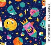 cute space flat cartoon... | Shutterstock .eps vector #1713086839