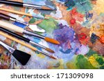 Paint Brushes On A Palette