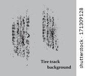 black grunge tire track on gray ... | Shutterstock .eps vector #171309128