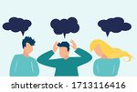 confused young people who think ... | Shutterstock .eps vector #1713116416