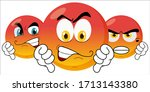 evil emotions. irritation on... | Shutterstock .eps vector #1713143380