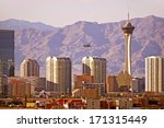 Vegas Cityscape. Las Vegas, Nevada Downtown Skyline. United States. - stock photo