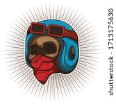 drawing skull head rider ... | Shutterstock .eps vector #1713175630