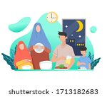 muslim family eating sahur or... | Shutterstock .eps vector #1713182683