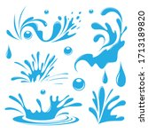 water. splash and spray. set.... | Shutterstock .eps vector #1713189820