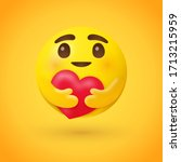 care emoji   yellow face... | Shutterstock .eps vector #1713215959