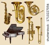 jazz classical wind instruments ... | Shutterstock .eps vector #1713227056