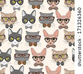 Seamless Hipster Cats Pattern...
