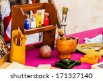 Small photo of some aromatherapy or alchemic items on a table