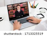 video conferencing webinar... | Shutterstock . vector #1713325519