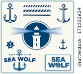 Set Of Vintage vector Retro Nautical Elements. Lighthouse.