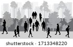 city life. people walking in... | Shutterstock .eps vector #1713348220