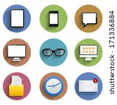 flat technology circle icon...