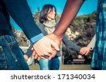 multiracial young people... | Shutterstock . vector #171340034