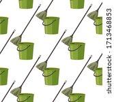 bucket and mop vector... | Shutterstock .eps vector #1713468853
