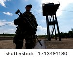 Border guard silhouette on...