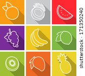 flat design icons. set of fruit.... | Shutterstock .eps vector #171350240