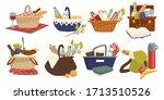 picnic baskets full of meals... | Shutterstock .eps vector #1713510526
