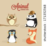 cute animal characters. vector... | Shutterstock .eps vector #171352568