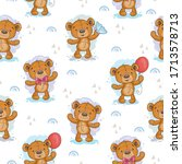 cute seamless pattern with... | Shutterstock .eps vector #1713578713