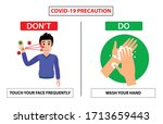 do and don't poster for covid... | Shutterstock .eps vector #1713659443