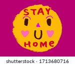 stay home social media campaign ... | Shutterstock .eps vector #1713680716
