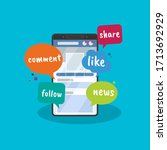 vector illustration of social... | Shutterstock .eps vector #1713692929