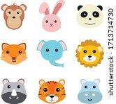 cute funny animals faces vector ...   Shutterstock .eps vector #1713714730