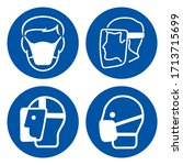 face shield and mark protection ... | Shutterstock .eps vector #1713715699