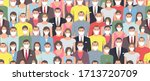 seamless pattern with people in ... | Shutterstock . vector #1713720709