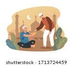 young muslim man giving money...   Shutterstock .eps vector #1713724459