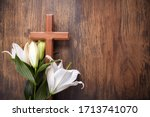 Wooden Cross And White Lily On...