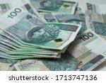 close up of polish zloty  bills | Shutterstock . vector #1713747136