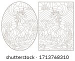 set of contour illustrations of ... | Shutterstock .eps vector #1713768310