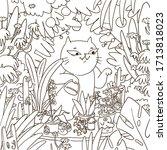 Cartoon Cat Watering Plants An...