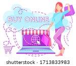 online shopping scene with girl ...