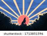 Sitting Wolf Silhouette On A...