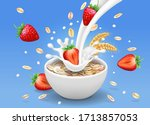 strawberry and oatmeal flakes... | Shutterstock . vector #1713857053