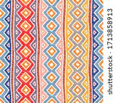 striped embroidered pattern.... | Shutterstock .eps vector #1713858913