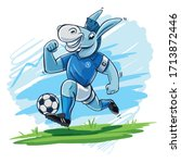 mascot donkey running with... | Shutterstock .eps vector #1713872446
