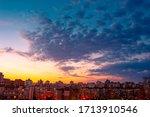 Beautiful Sunset Sky Over City. ...
