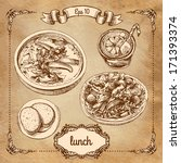 set graphics lunch | Shutterstock .eps vector #171393374
