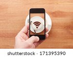 smartphone taking photograph of ... | Shutterstock . vector #171395390