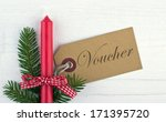 voucher with red candle and... | Shutterstock . vector #171395720