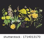 vintage watercolor summer... | Shutterstock . vector #1714013170