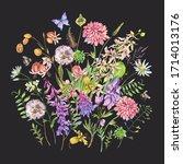 vintage watercolor summer... | Shutterstock . vector #1714013176