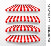 realistic striped shop sunshade.... | Shutterstock .eps vector #1714019350